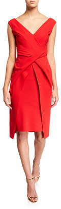 Chiara Boni V-Neck Sleeveless Dress with Overlay Skirt