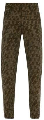 Fendi Ff Logo Jacquard Straight Leg Jeans - Mens - Brown