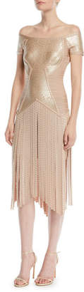 Herve Leger Off-the-Shoulder Foil Fringe Cocktail Dress