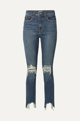 L'Agence High Line Cropped Distressed Skinny Jeans - Mid denim