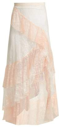Rodarte Tiered Ruffled Lace Midi Skirt - Womens - Pink Multi