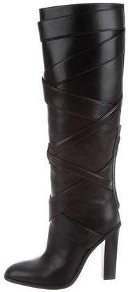Saint LaurentSaint Laurent Leather Wrap-Around Boots
