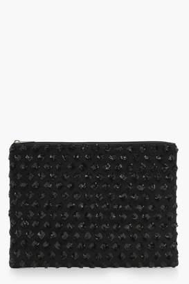 boohoo Holly Diamond Pattern Sequin Clutch Bag