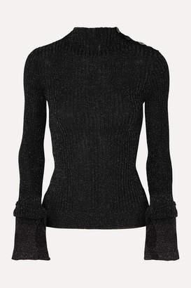 Roland Mouret Kiruna Ribbed Lurex Turtleneck Sweater - Black