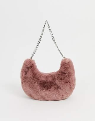Asos Design DESIGN fur 90s hobo shoulder bag