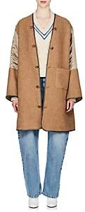 Maison Margiela Women's Twill-Sleeve Wool-Blend Coat - Beige, Tan