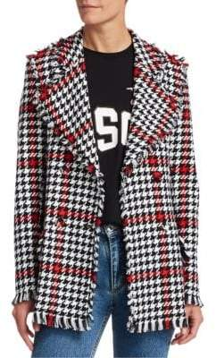 MSGM Women's Houndstooth Tweed Jacket - Black White - Size 38 (0)