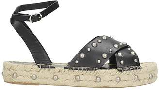 Bibi Lou Black Leather Espadrillas Sandals