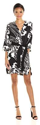 Halston Women's Long Sleeve Printed Kimono Dress with Sash