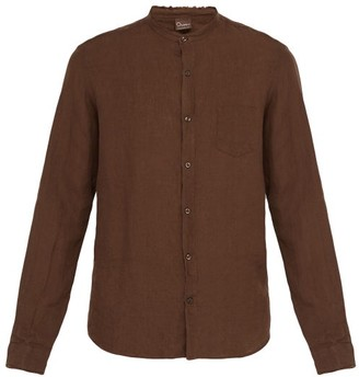 Once Milano - Frayed Edge Crushed Linen Poplin Shirt - Mens - Brown