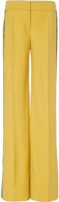 Oscar de la Renta Straight Leg Tailored Pant With Embroidered Side Panel