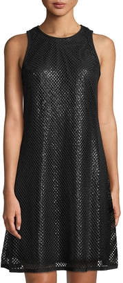 Carmen Marc Valvo Sequin Sleeveless Trapeze Dress