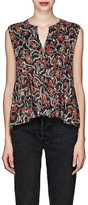Etoile Isabel Marant Women's Erney Floral Cotton Peplum Top - Blue
