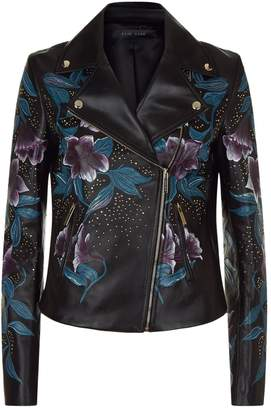 Elie Saab Floral Embellished Leather Jacket