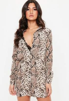 Missguided Brown Basic Snake Print Shirt Dress