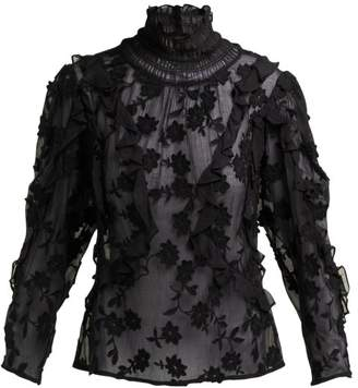 Rebecca Taylor Ruffled Floral Applique Blouse - Womens - Black