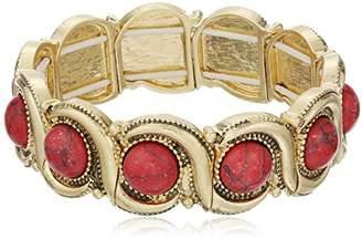 Nine West Vintage America Color Binge Worn Gold-Tone and Wave Stretch Bracelet