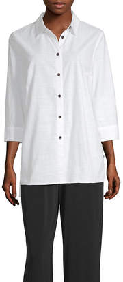 East Fifth east 5th Womens 3/4 Sleeve Button-Front Shirt