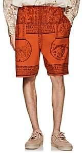 Acne Studios Men's Nejlika Mixed-Print Cotton Shorts - Orange