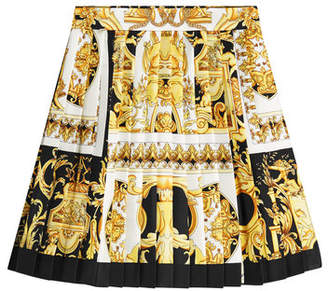 Versace Printed Silk Skirt with Pleats