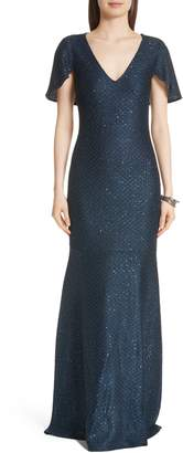St. John Cape Sleeve Shimmer Sequin Knit Gown