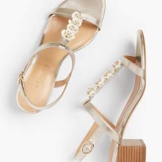 Talbots Mimi Flower-Embellished Block-Heel Sandals - Metallic