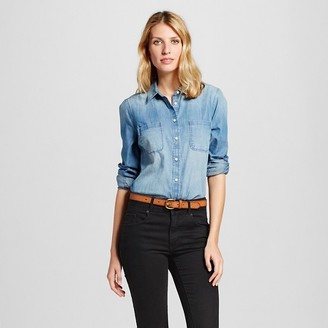 Merona Women's Denim Favorite Shirt Medium Indigo $24.99 thestylecure.com