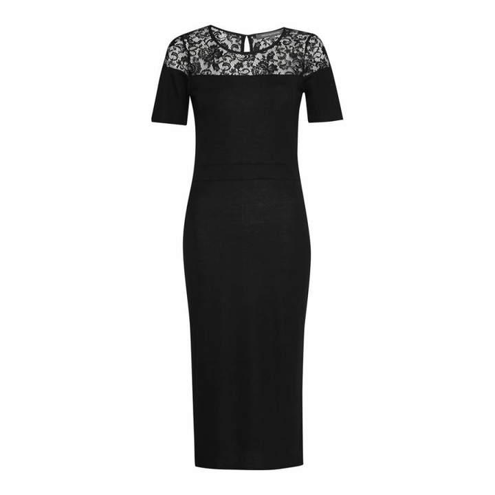 Black Viscose Mix Dress With Lace