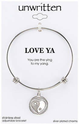 """Unwritten You Are the Ying to My Yang"""" Charm Bangle Bracelet, 8"""" Length, 2.25"""" Diameter"""
