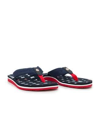Tommy Hilfiger Footwear Flat Beach Letter Logo Flip Flops Colour: MIDN
