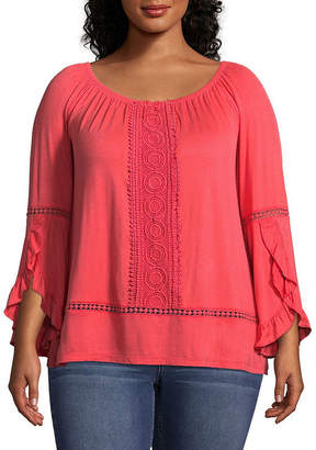 Boutique + + 3/4 Sleeve Crochet Front Off The Shoulder Knit Blouse - Plus