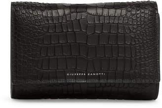 Giuseppe Zanotti Black croco embossed leather clutch