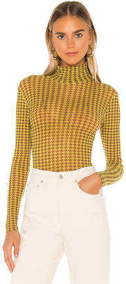Only Hearts Houndstooth Tulle Turtleneck Bodysuit