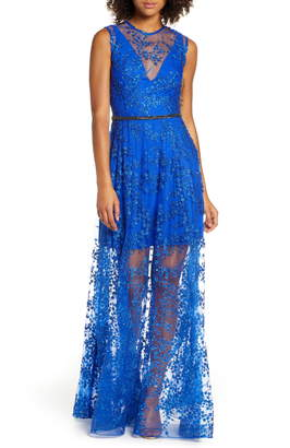 Bronx and Banco Olympia Floral Sheer Column Gown