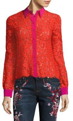 Roberto CavalliRoberto Cavalli Floral Lace Silk Blouse