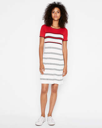 Express Ribbed Crew Neck A-Line Sweater Dress