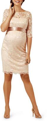 Tiffany & Co. Rose Maternity Amelia Scalloped Lace Dress with Satin Sash