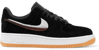 Nike Air Force 1 '07 Lx Embroidered Suede Sneakers - Black
