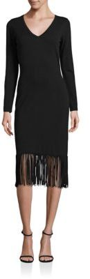 Laundry by Shelli Segal Fringed Hem Sheath Dress $195 thestylecure.com