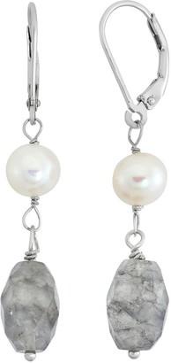 Freshwater Cultured Pearl & Quartz Sterling Silver Drop Earrings