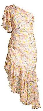 AMUR Women's Clayton Floral One-Shoulder Ruffle Dress