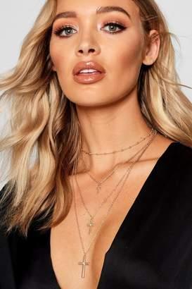 boohoo Lisa Choker And Cross Layered Necklace