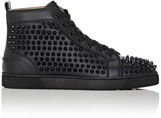 Christian Louboutin Men's Louis Flat High-Top Sneakers-BLACK $1,295 thestylecure.com