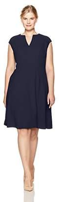 London Times Women's Plus Size Cap Sleeve Notch Neck Fit & Flare Dress