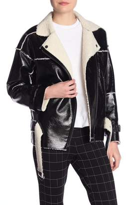 Kenneth Cole New York Faux Patent Leather Shearling Jacket