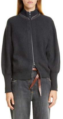 Brunello Cucinelli Monili Collar Rib Cashmere Cardigan