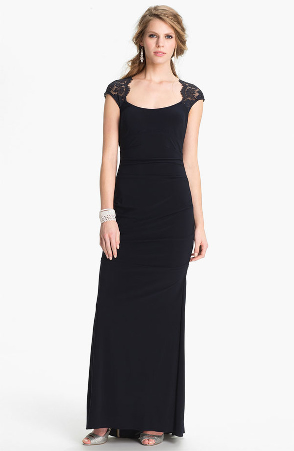 Xscape Evenings Lace Cap Sleeve Jersey Gown