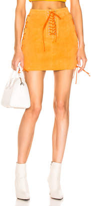Unravel Suede Side Lace Up Skirt in Orange | FWRD