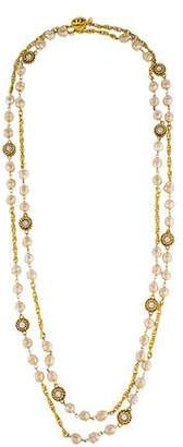 Chanel Faux Baroque Pearl Station Necklace