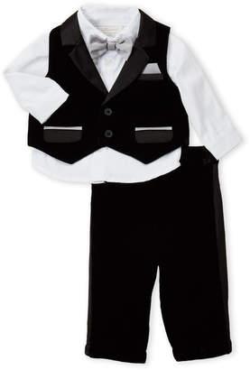 Miniclasix (Newborn/Infant Boys) 3-Piece Black Velvet Vest & Tuxedo Pants Set